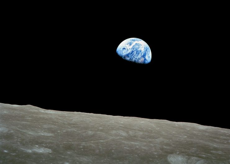 Earthrise from the Moon, photographed by Apollo 8 crewmember Bill Anders